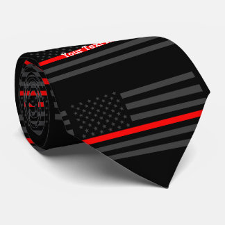 Your Text Thin Red Line Custom Grey US Flag Tie