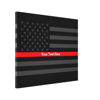 Your Text Thin Red Line Stylish Black US Flag on a Canvas Print