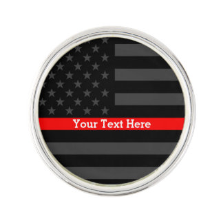 Your Text Thin Red Line Symbol Grey US Flag Lapel Pin