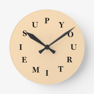 Your Time Is Up Wheat Medium Round Clock by Janz