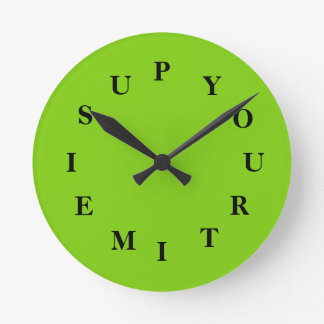 Your Time Is Up Yellow Green Medium Clock by Janz