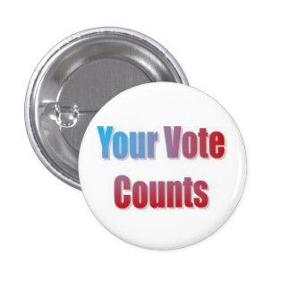 Your Vote Counts 3 Cm Round Badge