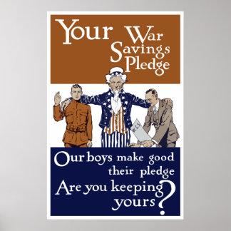 Your War Savings Pledge -- WW1 Print