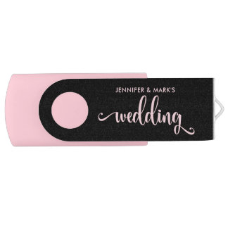Your Wedding Memories | Pink and Black USB Flash Drive