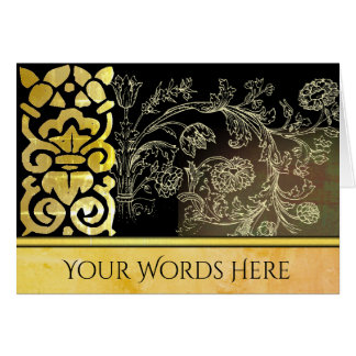 Your Words on Gold Woodcut Botanical Ornament Card