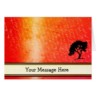 Your Words on Orange Blaze with Tree and Pen Nib Card
