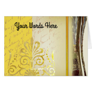 Your words with retro woodcuts and textures card