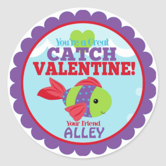 You're a great catch Fish Classroom Valentines Classic Round Sticker
