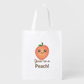 You're a Peach Sweet Kawaii Cute Funny Foodie Reusable Grocery Bag