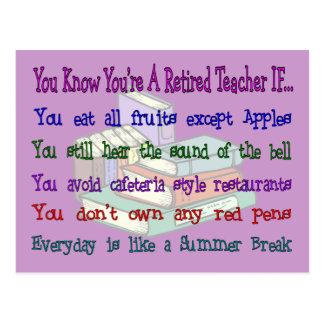 You're a Retired TEACHER IF... Postcard