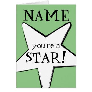 """You're a Star"", Add Name, Thank-You Fun Card"