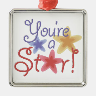 Youre A Star Silver-Colored Square Decoration