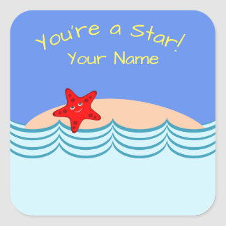 """""""You're a Star!"""" Sticker with Starfish"""