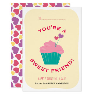 You're A Sweet Friend Cupcake Classroom Valentine Card