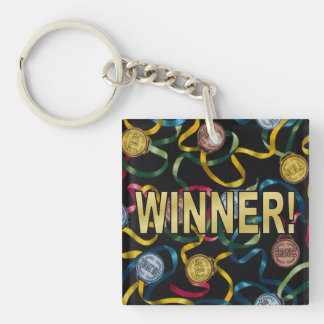 You're a Winner! Single-Sided Square Acrylic Key Ring