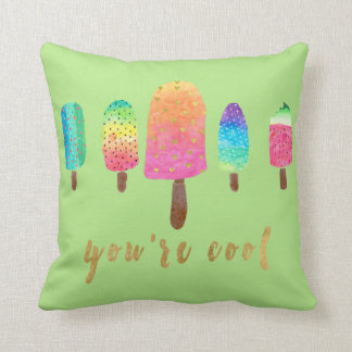 You're Cool 5 Popsicles Green Cushion