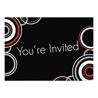 You're Invited - Black & Red Circles Invite