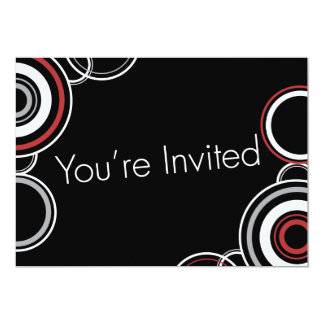 You're Invited - Black & Red Circles 13 Cm X 18 Cm Invitation Card