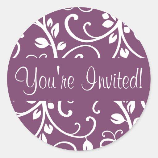 You're Invited Floral Vine Envelope Sticker Seal