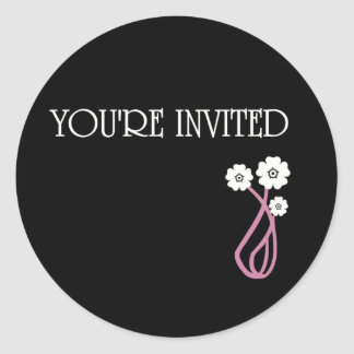 YOU'RE INVITED FLOWERS ROUND STICKER