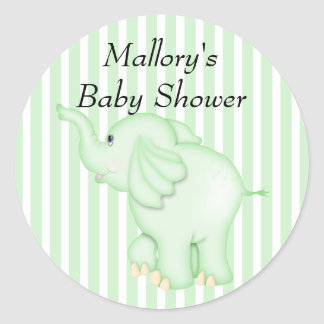 You're Invited Green Elephant Baby Shower Classic Round Sticker