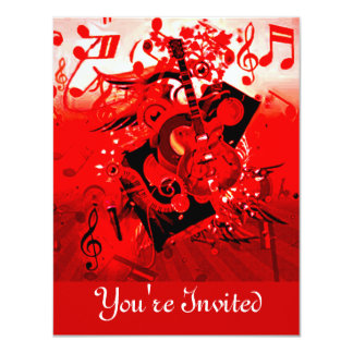 You're Invited,Journey of music-Red_ 11 Cm X 14 Cm Invitation Card