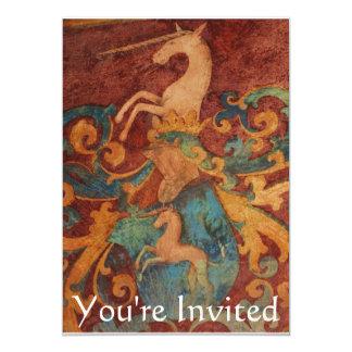 "You're Invited Renaissance  White unicorn 5"" X 7"" Invitation Card"