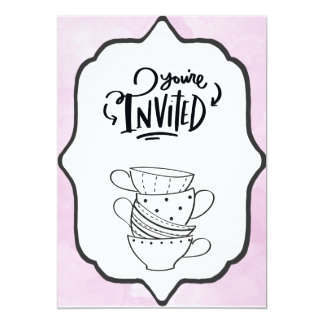 You're Invited Tea Cups Card