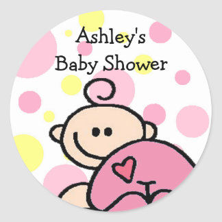 You're Invited Tickled Pink Girl Round Sticker