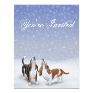 You're Invited Winter Basset Hounds 11 Cm X 14 Cm Invitation Card