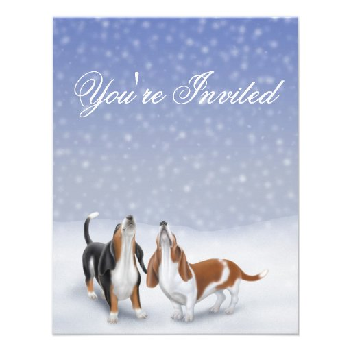 You're Invited Winter Basset Hounds Custom Invite