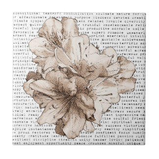You're My Inspiration Coffee Brown Flower + Color Small Square Tile