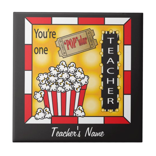 You're One POPular Teacher Small Square Tile