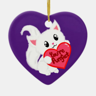 You're Purrfect Kitty Ceramic Heart Decoration