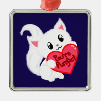 You're Purrfect Kitty Silver-Colored Square Decoration