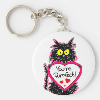 """""""You're Purrfect"""" Tuff Kitty Cat  with Heart Key Ring"""