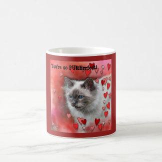 You're so PURRrfect! Kitty Cat Siamese Blue Eyes M Coffee Mug