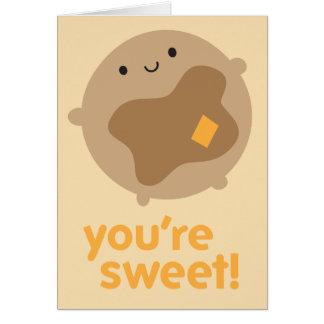 You're Sweet! Kawaii Pancake Note Card