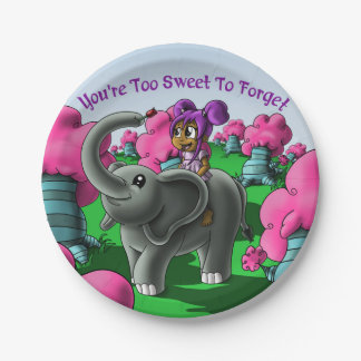 """You're Too Sweet to Forget"" Birthday Paper Plates 7 Inch Paper Plate"