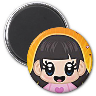 yourri girl pink 6 cm round magnet