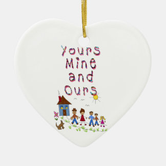 Yours Mine and Ours Blended Family Stepmom Stepdad Ceramic Heart Decoration