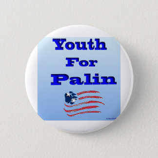 Youth for Palin Logo with Flag Below (good) 6 Cm Round Badge