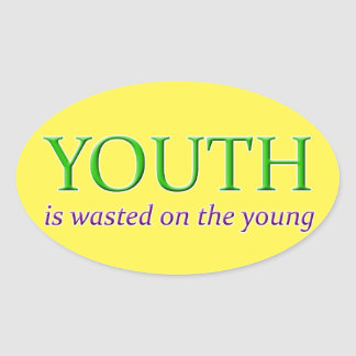 YOUTH IS WASTED ON THE YOUNG OVAL STICKER
