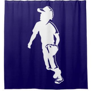 Youth League Baseball Fielder Shower Curtain