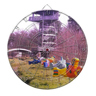 youth park wooden tower and flying wooden fishes dartboard