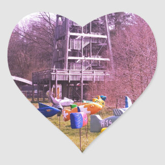 youth park wooden tower and flying wooden fishes heart sticker