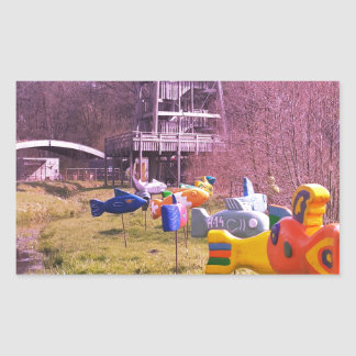 youth park wooden tower and flying wooden fishes rectangular sticker