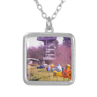 youth park wooden tower and flying wooden fishes silver plated necklace