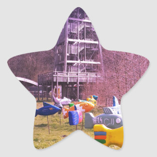 youth park wooden tower and flying wooden fishes star sticker
