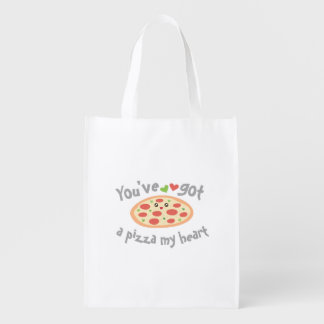 You've Got a Pizza My Heart Funny Punny Food Humor Reusable Grocery Bag